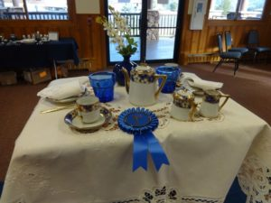 Karen Martin arranged this children's china table which won a blue ribbon and came in third for best in show.